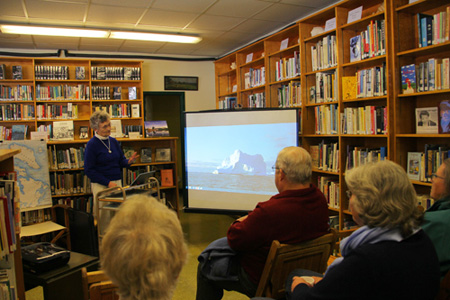 Showing slides at North Gorham Library